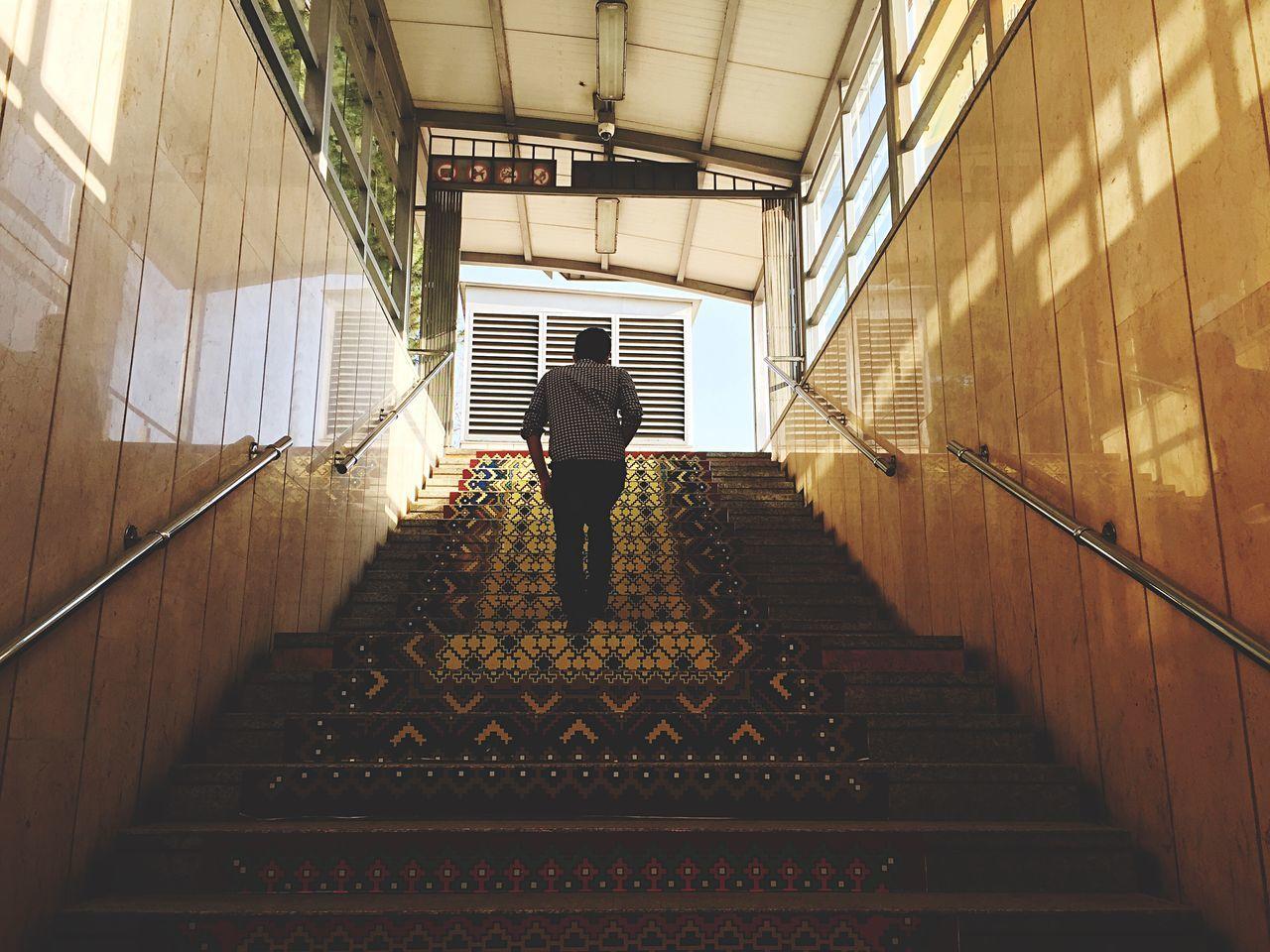 Rear view of man walking on steps
