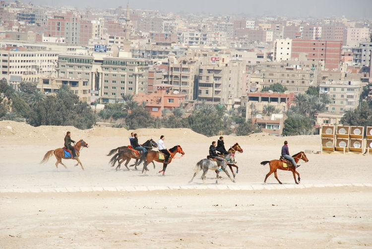 Men riding horses in front of city buildings