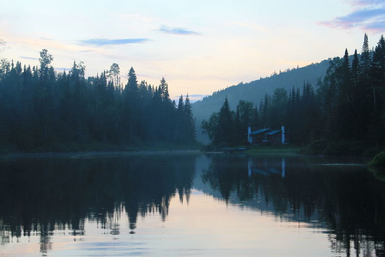 Beauty In Nature Cloud - Sky Day Forest Idyllic Lake Landscape Log Cabin Mountain Nature No People Outdoors Quebec, Canada Reflection Reflection Lake Scenics Sky Snow Sunset Tranquility Tree Water The Secret Spaces EyeEmNewHere The Week On EyeEm