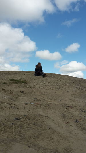Cloud - Sky Sand Nature Sky Sand Dune Outdoors Day Landscape Beauty In Nature Samsungphotography Hobby Photography Orginal Photograph No Filter, No Edit, Just Photography Mobile Photography Sitting Daughter Enjoying Nature On Top Of The World.