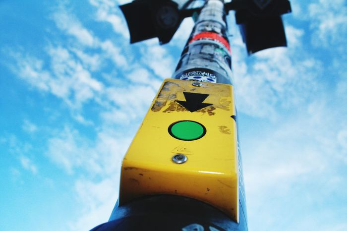 traffic light Cloudy Clouds Sky Other Perspectives Traffic Lights Press The Button Communication Low Angle View Road Sign Stoplight Day Close-up Outdoors No People