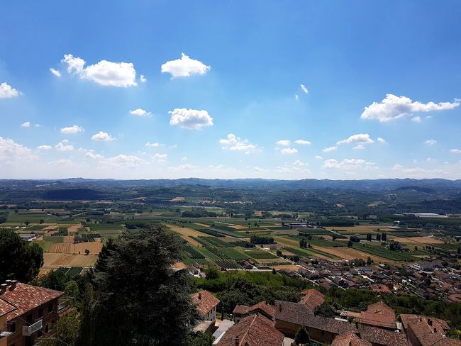 Cloud - Sky Agriculture Sky High Angle View Outdoors Landscape Day No People Nature Blue Scenics Tree Beauty In Nature City Rural Scene Langhe Piedmont Italy Travel Destinations Point Of View Aerial View From Top To Valley