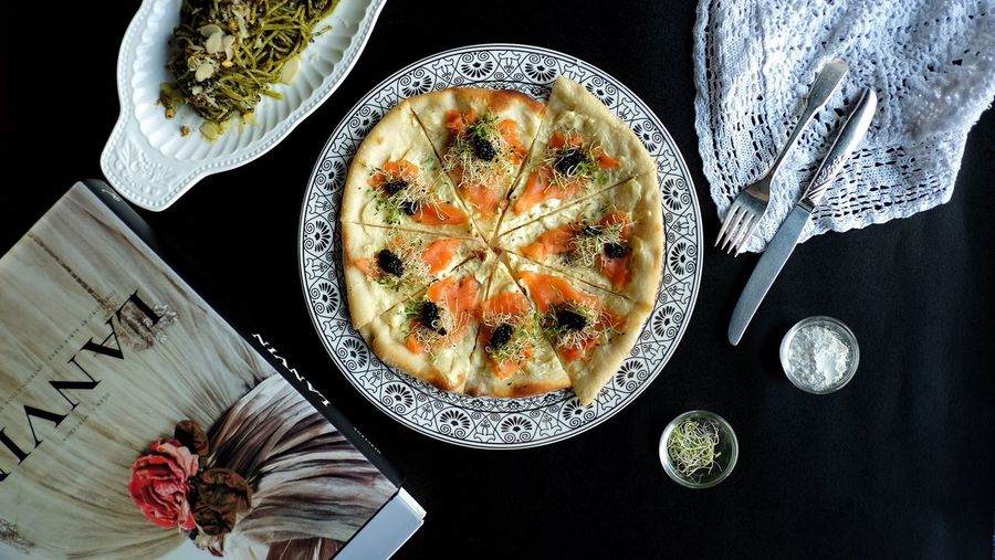 Salmon and Caviar pizza Food And Drink Plate High Angle View Food Indoors  No People Table Food Stories