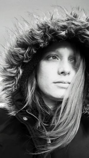 Blackandwhite Photography No Makeup Hood Up Wintertime Freshness Contrast Headshot One Young Woman Only Close-up Portrait Independent Woman Enjoying Life Outdoors Long Hair Hood - Clothing Contemplative Beautiful Woman Young Women Real People Day Young Adult One Person