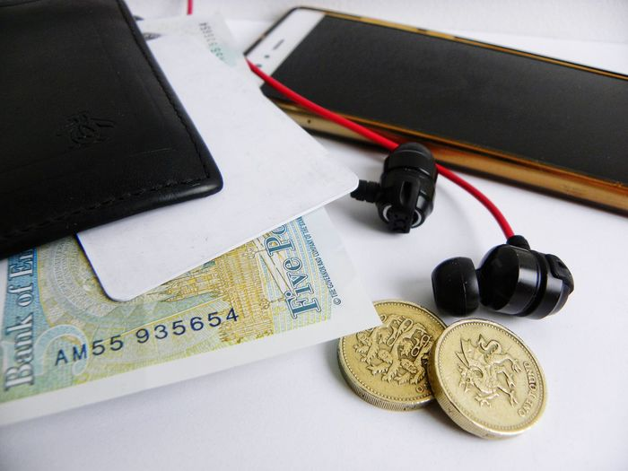 In A Man's Pocket Finances Pay Cash Banknotes Wallet Headphones Mobile Phone Cell Phone  Man's Possessions Card Male Possessions Technology Devices Electronic Device Earphones