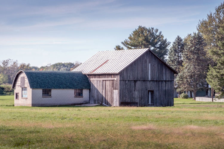 Old wooden barn in rural michigan usa