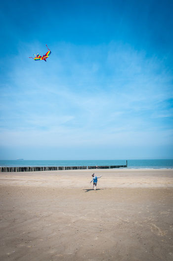 Rear view of boy flying kite at beach against blue sky