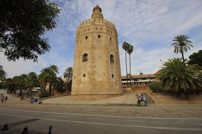 Torre de Oro or Golden Tower in Seville, Spain. Andalucía Andalusia Historical Building Historical Sights Moorish Architecture SPAIN Sevilla Torre Del Oro Travel Golden Tower Seville,spain Spaın Touist Attraction Tourism Travel Destinations