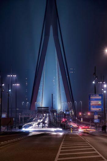 Road Leading Towards Erasmus Bridge At Night
