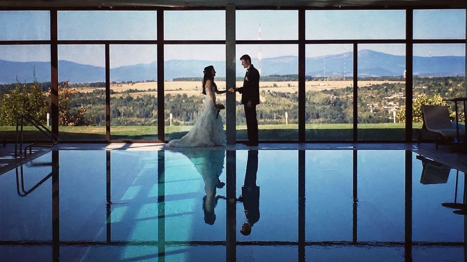 happily ever after. Swimming Pool Wedding Wedding Dress Water Bride Real People Young Women Day Young Adult Window Women Well-dressed Full Length Indoors  Standing Sky Happiness Adult Bridegroom People The Week On EyeEm EyeEm Best Shots Symmetry Happyday Wedding Photography