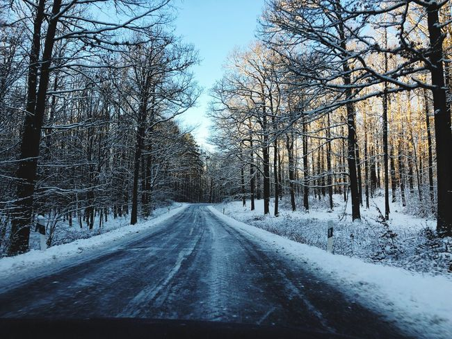 Heute morgen zur Arbeit. This morning to work. Road Snow Winter Cold Temperature Nature Weather No People Day Beauty In Nature