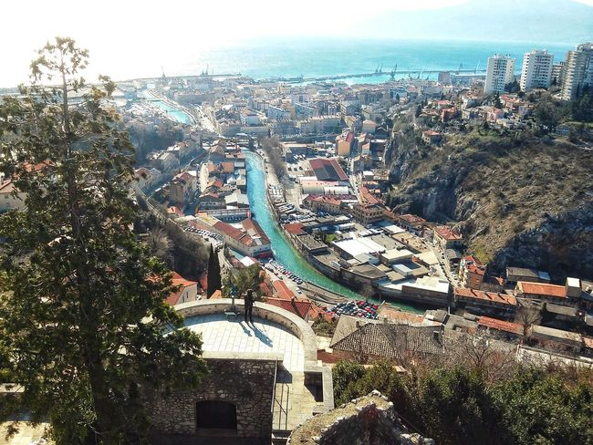 A Bird's Eye View City Cityscape City Life Sky Photography Walking Around The City  Clear Sky Day Architecture Sun Sea Enjoying The View Colourful City View Rijeka Croatia Green River River Blue Sea Trsat Lovely Buildings Houses EyeEm Best Shots