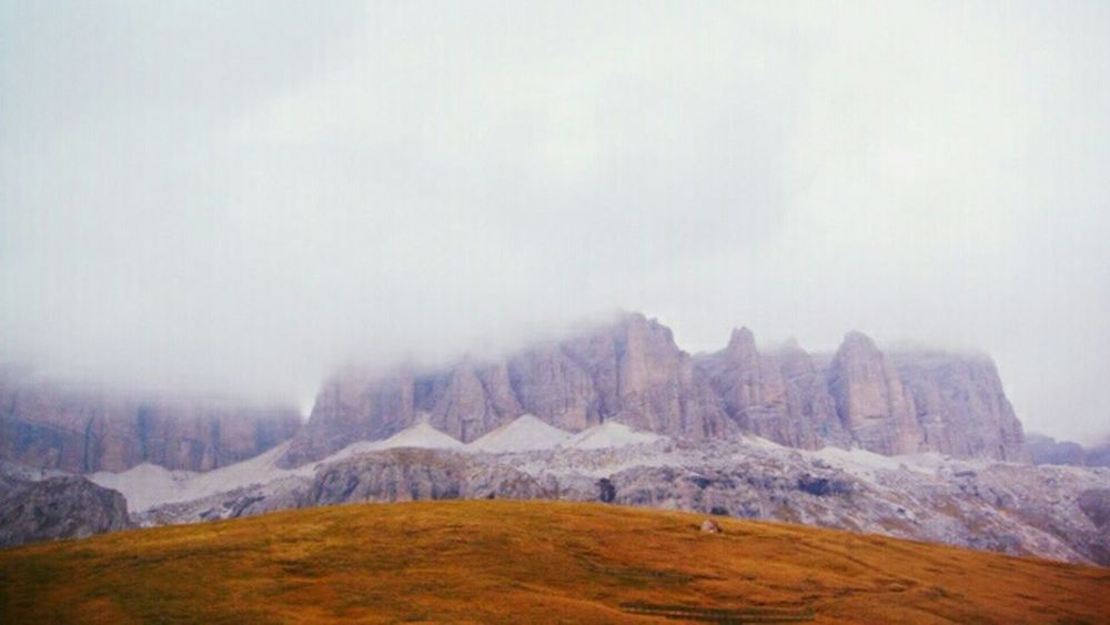 Home Is Where The Art Is Colour Of Life Pivotal Ideas Mountains Mountain Autumn Autumn Colors Melancholic Landscapes Melancholy Dolomites, Italy Dolomites Mountain View Peak No People Hide Hiding From The World Clouds And Sky Clouds Cloud Rock - Object Rock Formation Colorful Eyeemphoto