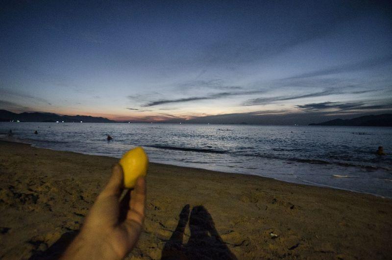 Sunrise in Nha Trang with lemon. NhaTrang Nha Trang, Vietnam Lemonandme Lemonindanang Sunrise_Collection Sea And Sky Beach