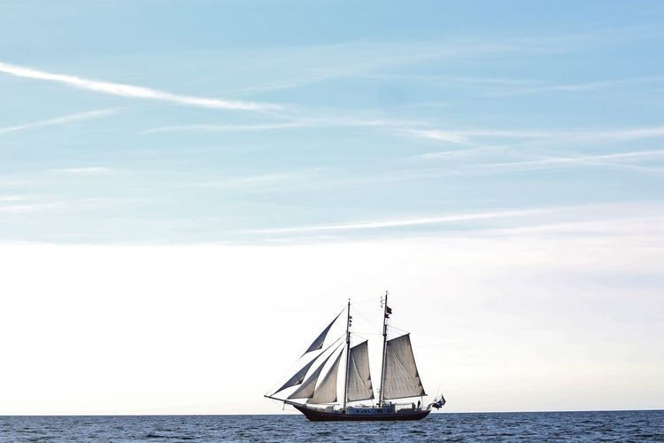 Beauty In Nature Blue Boat Day Horizon Over Water Idyllic Mast Meer Nature No People Ocean Ostsee Outdoors Russia Sailboat Sailing Schiff Sea Segeln Segelschiff Ship Sky Water Waterfront