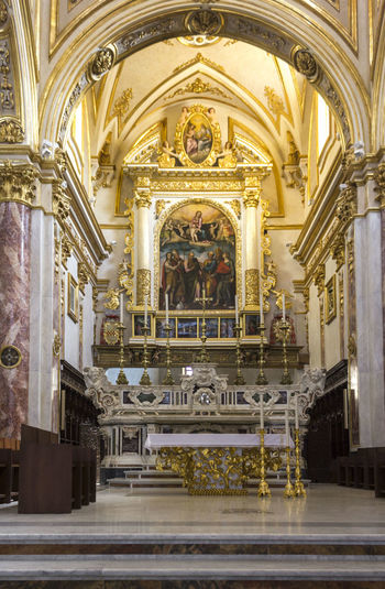 Matera Italy Unesco UNESCO World Heritage Site Church Interior Cathedral Nave Architecture Built Structure Religion Building Place Of Worship Belief Spirituality Art And Craft Indoors  The Past History Architectural Column Arch Illuminated Sculpture Altar Ornate Ceiling Mural Luxury