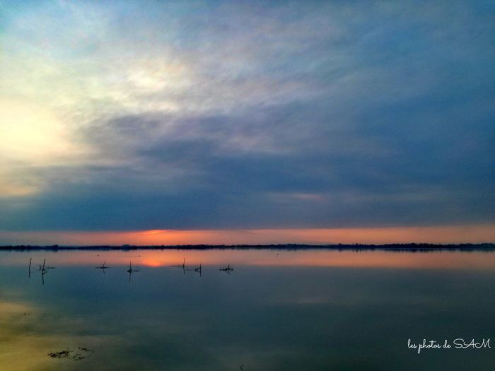 Reflection Water Lake Sky Tranquility Nature Beauty In Nature No People Outdoors Cloud - Sky Sunset Milky Way Galaxy Day Canet-en-Roussillon Canetplage étang