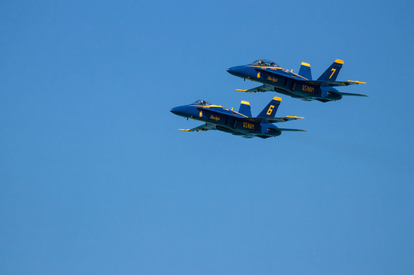 Navy Blue Angels Aerobatics Air Vehicle Airplane Blue Clear Sky Copy Space Day Fighter Plane Flying Low Angle View Mid-air Military Military Airplane Mode Of Transportation Motion Nature No People on the move Outdoors Plane Sky Transportation