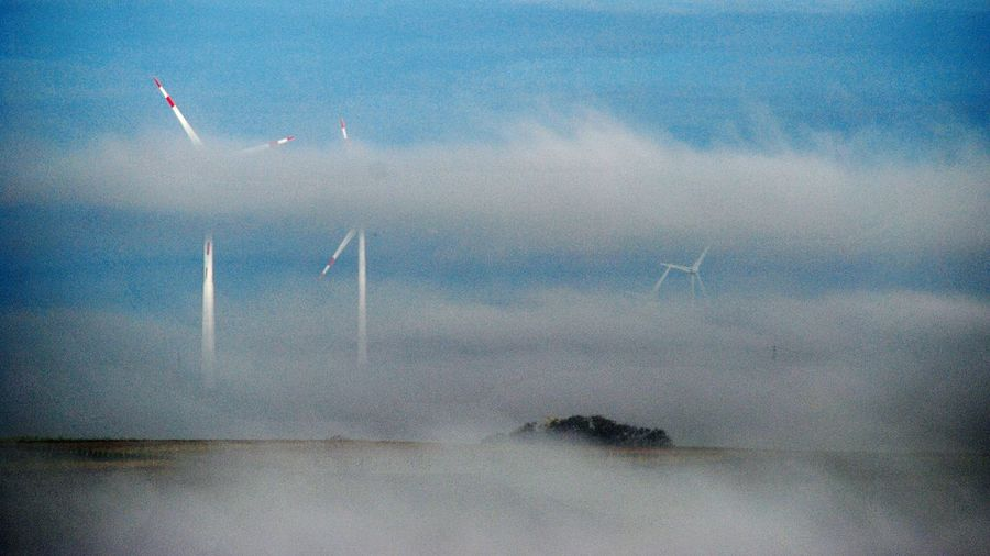 Windkraftanlage Windkraft Energiewende im Nebel Nebelmeer Nebelschwaden Foggy Foggy Morning Natur Nature Fog Windrad Windmill Windmills Windmillpark Windmill Power Windmillcraftworks Showcase: November Better Look Twice Pastel Power Landscapes With WhiteWall Blue Wave The Great Outdoors - 2016 EyeEm Awards