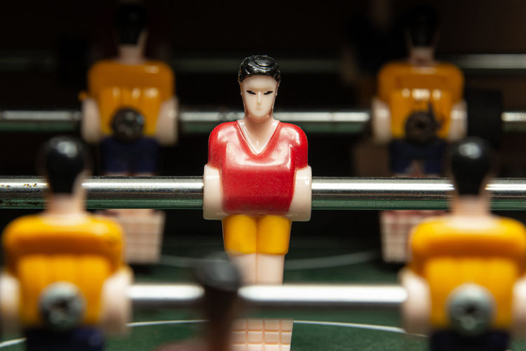 Close-up miniature of soccer tables.