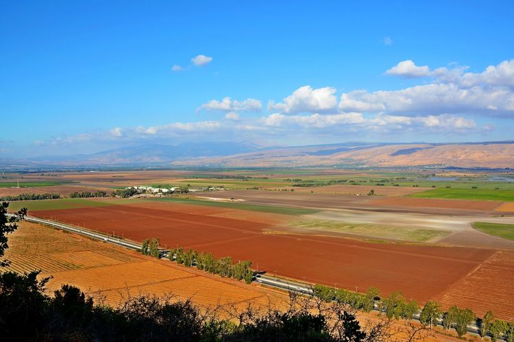 Hula Valley Observation Point Beauty In Nature Cloud - Sky Field Landscape Nature Observation From Naftali Mountains Toward Hula Valley And Golan Mountains Outdoors Patchwork Landscape Scenics Sky Tranquil Scene Tranquility Perspectives On Nature