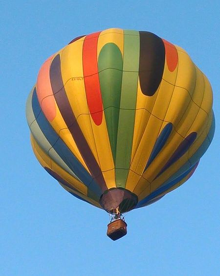 Hot Air Balloon Flying Adventure Multi Colored Transportation Recreational Pursuit Blue Freedom Air Vehicle Mid-air Low Angle View Extreme Sports Heat - Temperature Sky Flame Ballooning Festival Fun Parachute Outdoor Pursuit Sport