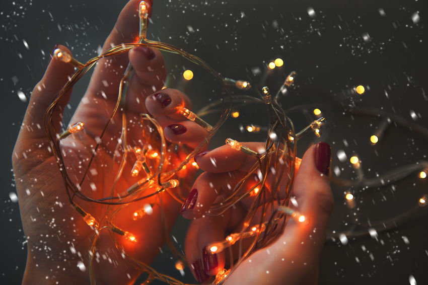 outdoor shooting Christmas EyeEmNewHere Celebration Close-up Human Hand Illuminated Lights And Shadows Night One Person Outdoors People Real People