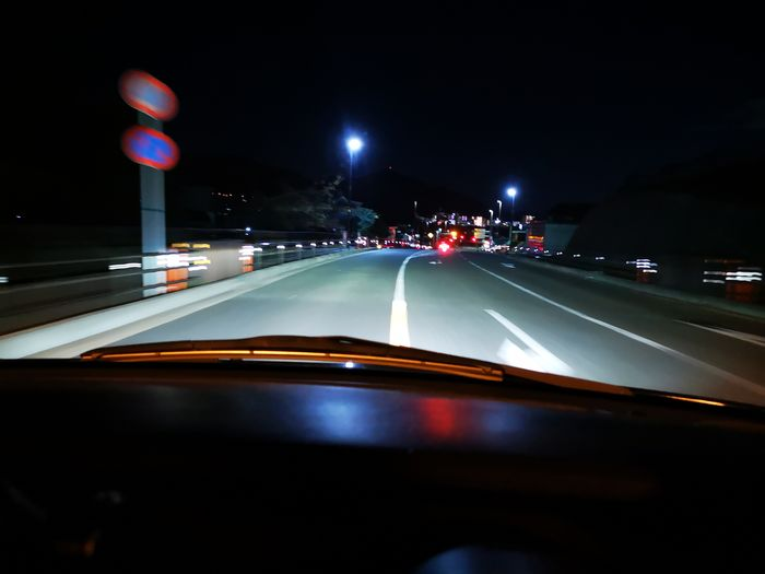 View of car on road at night