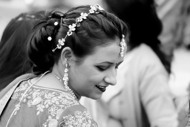Close-up of smiling bride