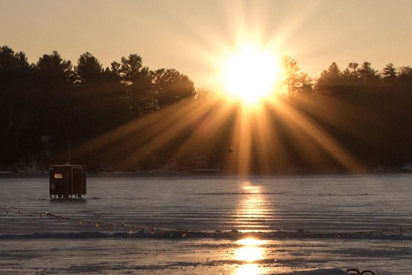Sun Sunlight Sunbeam Lens Flare Water Nature Tranquil Scene Scenics Beauty In Nature Tranquility Outdoors Ice Fishing Minden Minden Ontario Ogopogo Resort