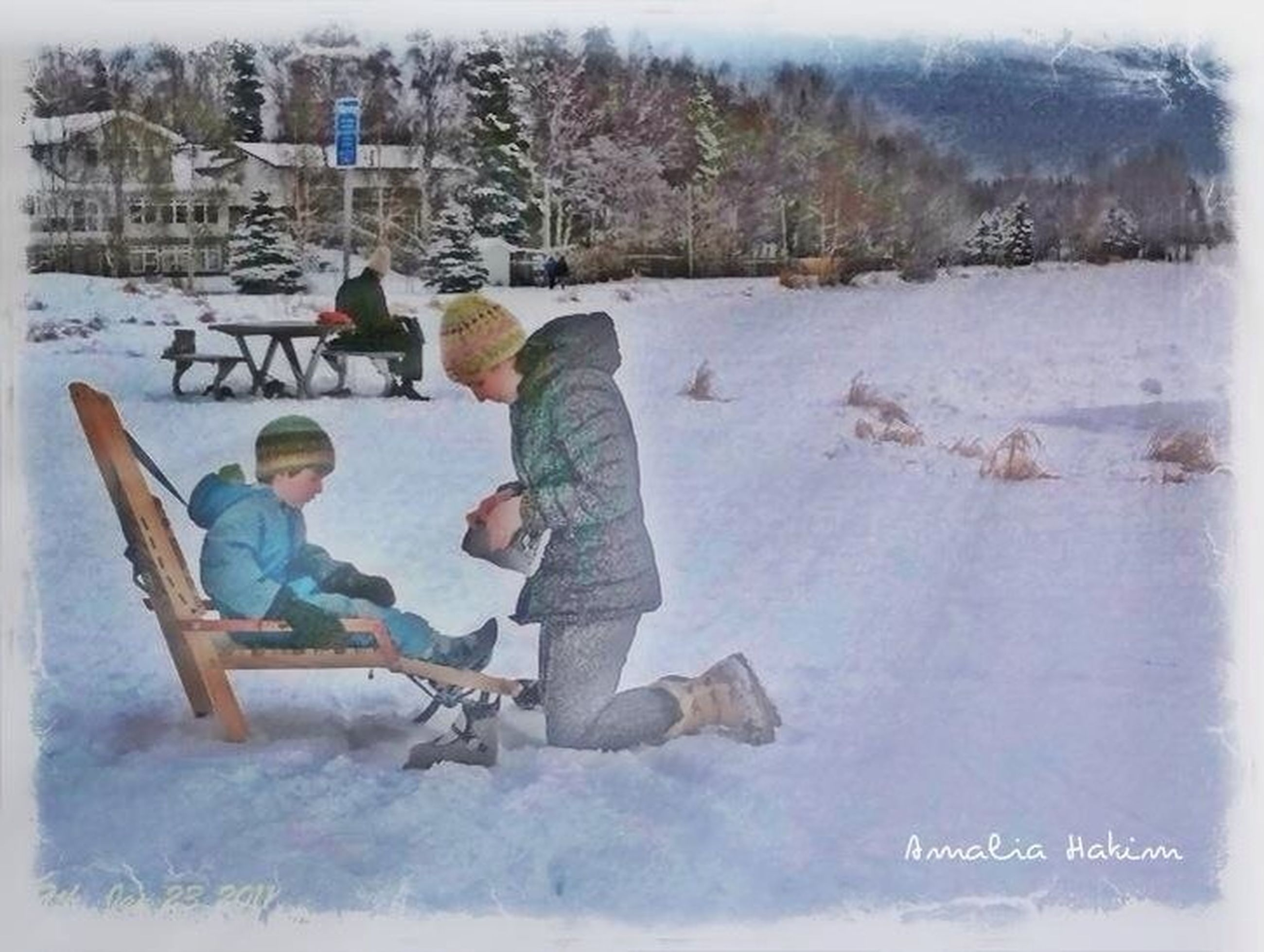 lifestyles, leisure activity, full length, men, rear view, casual clothing, water, tree, transfer print, sitting, person, togetherness, winter, childhood, auto post production filter, day, cold temperature