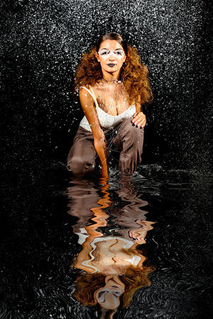 Reflect Adult Adults Only Black Background Day One Person One Woman Only One Young Woman Only Outdoors People Real People Reflection Studio Shot Swimming Water Young Adult