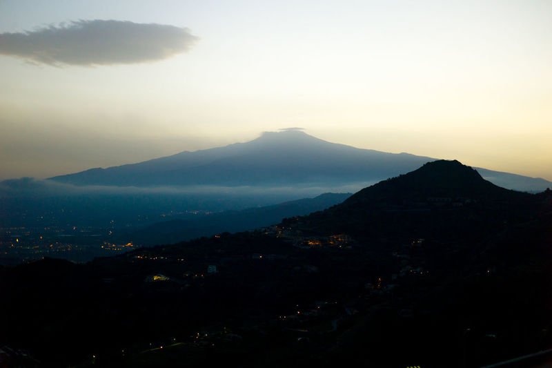 Beauty In Nature Cloud - Sky Dusk Etna Etna, Mountain, Sicily, Lights Mountain Mountain Range Mt Etna Natural Phenomenon Nature Night No People Outdoors Scenics Sicily Sky Sunset Tranquil Scene Tranquility Travel Travel Destinations
