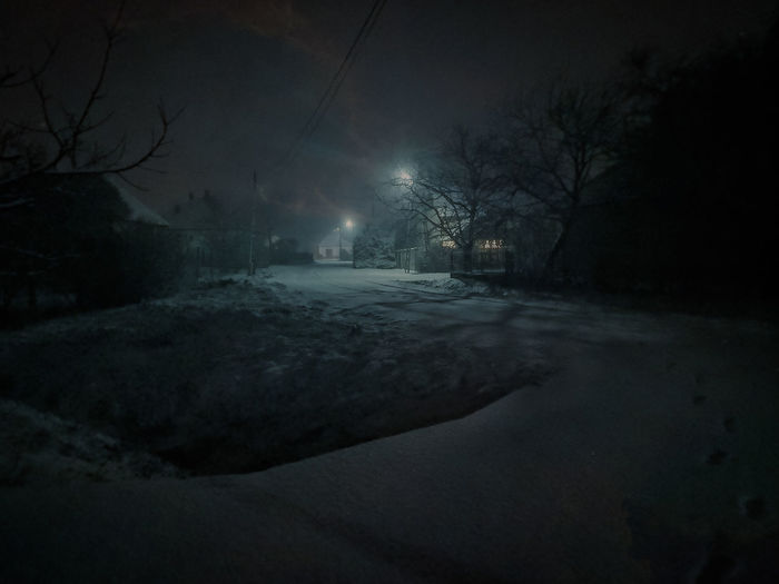 Snowy night at
