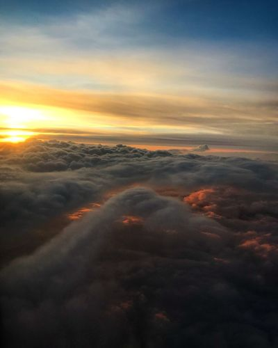 Sky Cloud - Sky Sunset Beauty In Nature Scenics - Nature Orange Color Tranquil Scene Landscape Sun Non-urban Scene Outdoors Environment Aerial View Majestic Idyllic Dramatic Sky Cloudscape Tranquility Nature No People