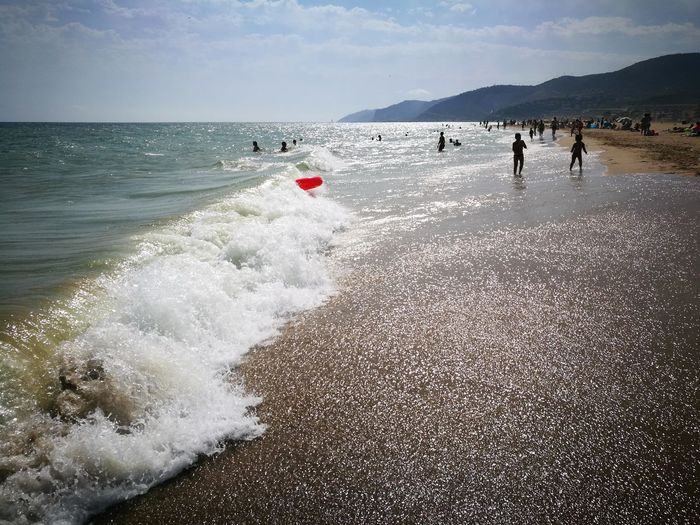Beach People Sea Day Outdoors Large Group Of People Water Adult Nature Mountain Sky Adults Only Horizon Over Water Landscape Scenics Vacations Sand Summer Barcelona The Week On Eyem