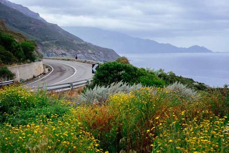 Curve Curves Ocean Drive Ocean View Oceanside Cloud - Sky Cost Curves And Lines Driveway Mountain Mountain Range Mountain Road Ocean Road Oceandrive Outdoors Road Sardegna Scenics - Nature Tranquil Scene Tranquility Transportation Winding Road