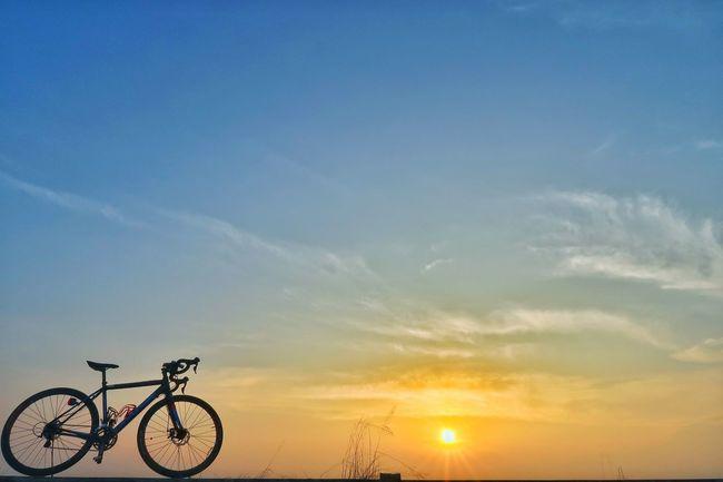 朝チャリ サイクリング ポタリング 海 海岸 朝日 日の出 空 青空 グラデーションカラー 太陽 Bicycle ロードバイク 自転車 Sky Cycling Nature Sport Sun Silhouette Blue Beauty In Nature Extreme Sports Galaxy EyeEm Nature Lover