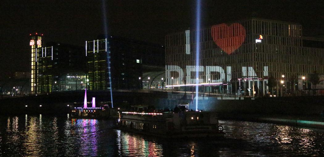 """I love Berlin"" Festival of Lights Architecture Berlin Building Exterior City Life Festival Of Lights Festival Of Lights 2015 Illuminated Night River Street Light"