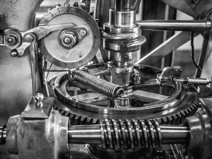 Machinery Bnw Bnw_collection Close-up Engine Gear Industry Machine Part Machinery Mechanic Metal Metallic No People Technology
