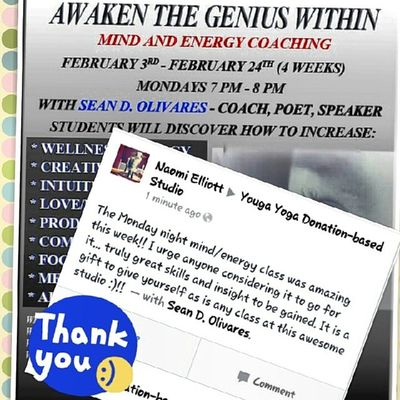 A happy student! SeanKnows Genius Workshop Yougayoga donationbased community change