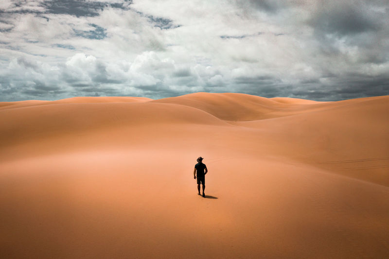 Rear view of man walking at desert