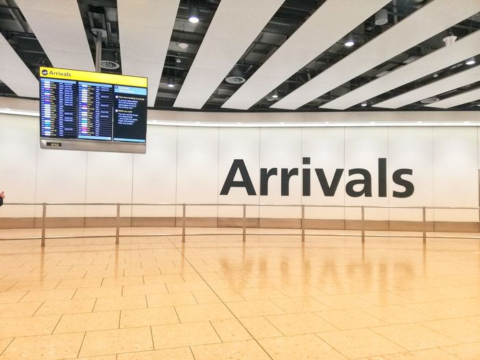 Heathrow Airport Airport Heathrow Heathrow Terminal 4 Arrival Departure Board Arrival Arrivals Empty Vacant Space Sign Floor Communication Text Architecture