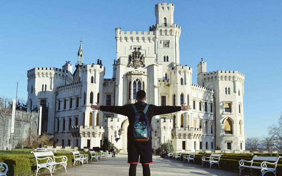 This castle is my ... backpack is a must The Traveler - 2018 EyeEm Awards Travel Destinations Outdoors Front View Architecture One Person Building Exterior People Castle Hluboká Nad Vltavou Majestic White Beautiful Simply Beautiful Be. Ready. Inner Power