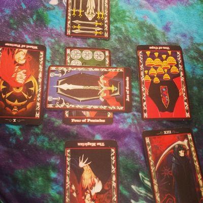 Tarotcards Tarotreader Tarotspread Tarotreading tarot tarotcloth randomspread vampiretarot vampiredeck past present future