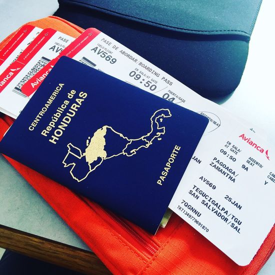 Passport Vacations Text Number Indoors  Communication No People High Angle View Close-up Day Live For The Story Avianca Aeropuerto Honduras Tranquility Beauty In Nature Tranquil Scene Travel Let's Go. Together.
