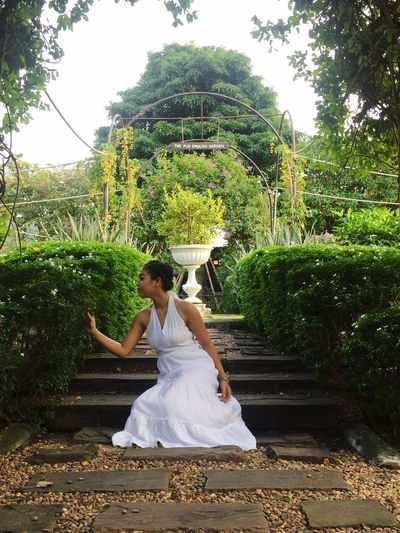 Full Length Tree Adults Only Only Women One Woman Only One Person Tradition Wedding Dress One Young Woman Only Young Adult People Outdoors Nature Lotus Position Adult