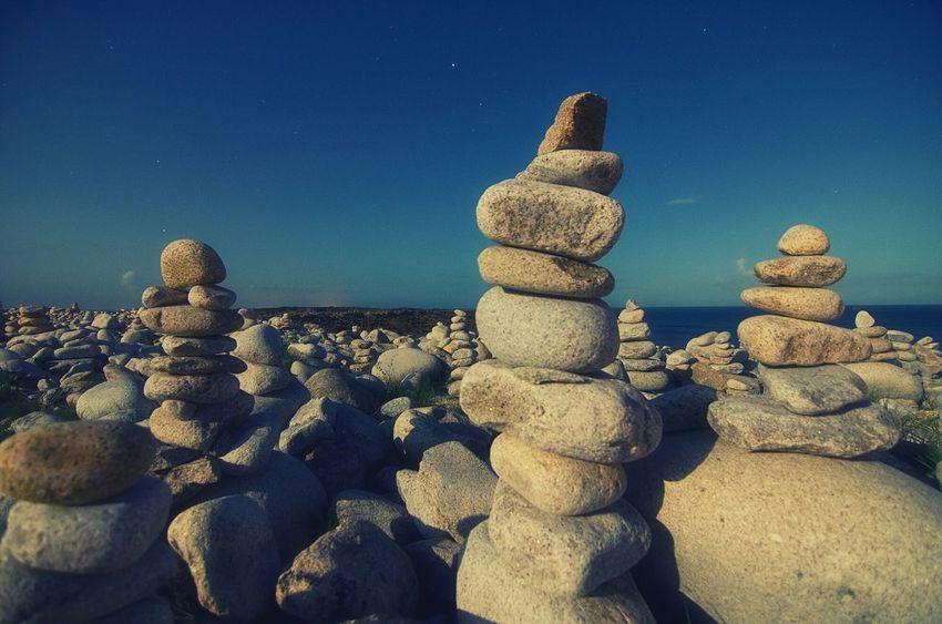 île Grande Stone Art Pebbles Bretagne Moonlight Nightphotography Zen Garden A Moment Of Zen... Landscape Night Lights