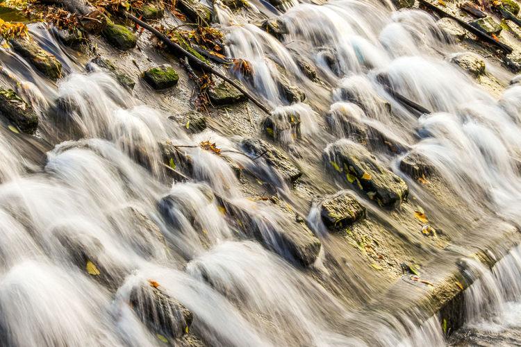 Aerial view of stream flowing through rocks