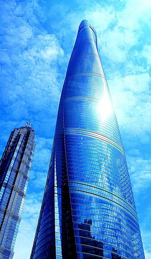 Shanghai No People Day Outdoors City Sky Architecture Building Exterior Built Structure Skycraper Blue Fromtaxi Lowangleview Been There. EyeEmNewHere EyeEmNewHere